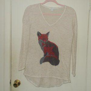 Moa Moa Fox Thin Knit Sweater Size Medium